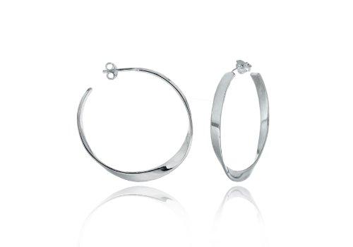 Silver Single Twist Hoop Earrings