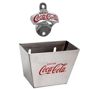 Tablecraft Coca-cola Wall Mount Bottle Opener & Coca-cola Bottle Cap Catcher Set