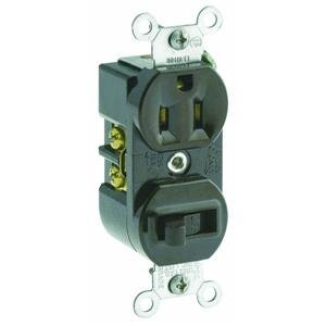 Leviton 5225 15 Amp, 120 Volt, Duplex Style Combination Single Pole Switch/Receptacle Grounding, Brown