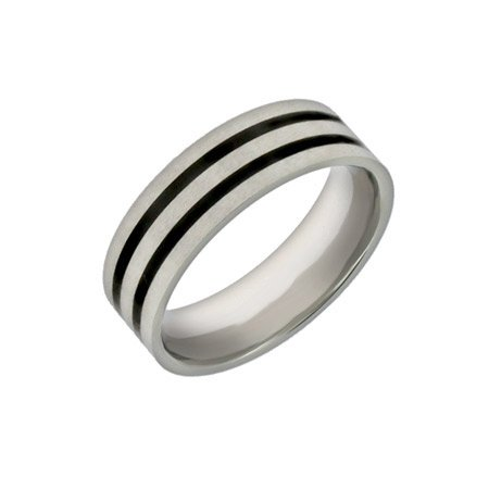 Men's Double Lined Black Inlay Promise Ring Size 10 (Sizes 10 11 12 Available)
