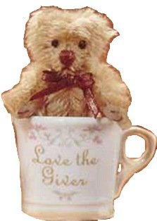 Gund Tiny Teddy Wishes Love the Giver Cup with Tan Mohair Bear