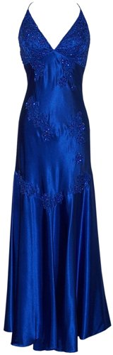 Satin Beaded Halter Prom Formal Gown Long Holiday Party Cocktail Dress Bridesmaid, Small, Royal