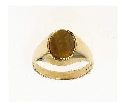 J R Jewellery 422386 Men's 9ct Gold Tigers Eye Signet Ring Made In Jewellery Quarter B'ham.