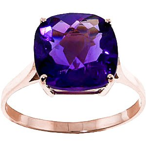 QP Jewellers Natural Amethyst Ring in 9ct Rose Gold, 3.60ct Cushion Cut - 2311R