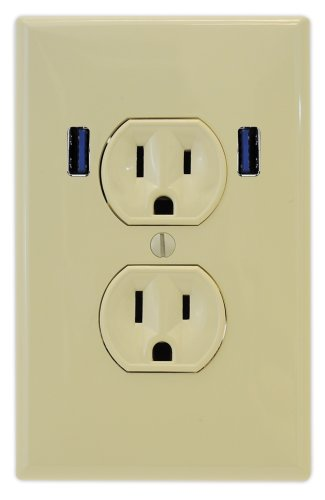 U-Socket Ace-8159 15-Amp Ac Standard Wall Duplex Outlet With Built-In Usb Charger Ports, Ivory