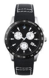 BMW Men's Chronograph. Watch with brushed stainless steel case and anthracite Dial & Black Band