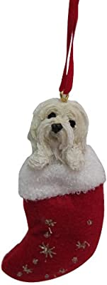 "Havanese Christmas Stocking Ornament with ""Santa's Little Pals"" Hand Painted and Stitched Detail"