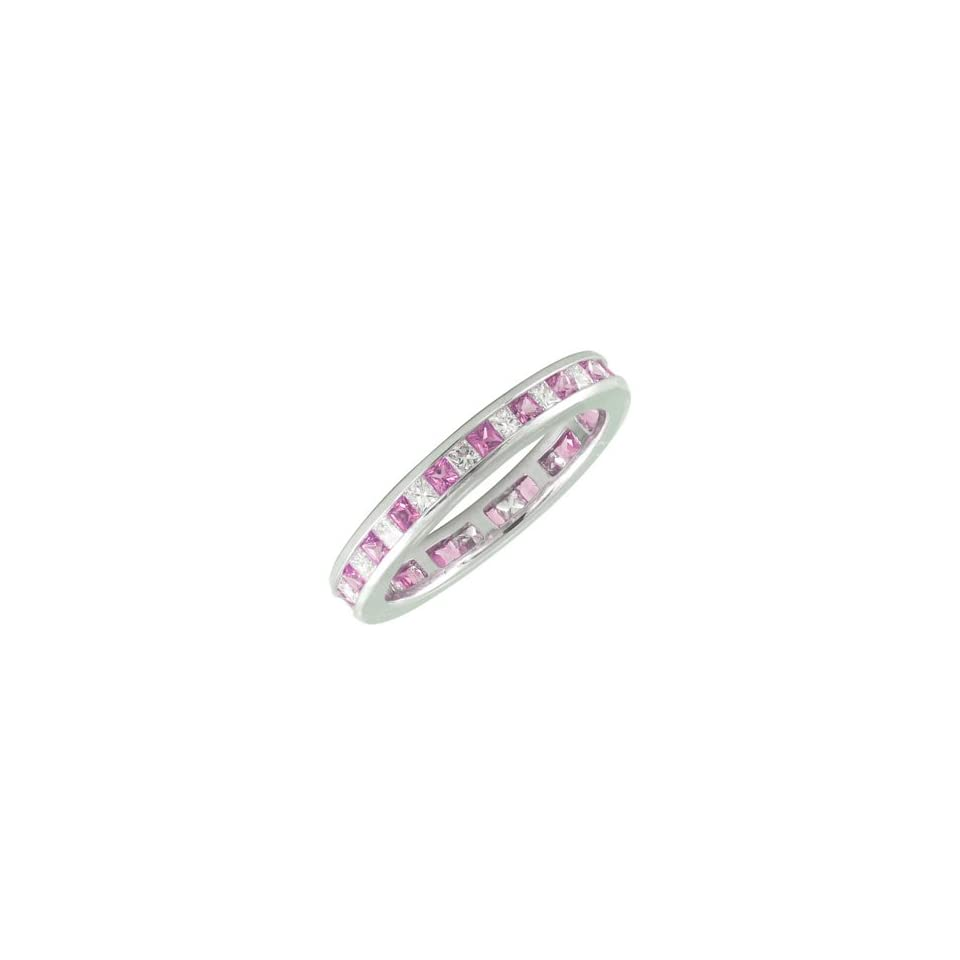 Princess Cut Diamond Ring w/ Pink Sapphires   White Gold