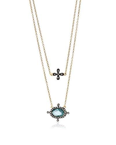 Freida Rothman Aqua CZ Double Drop Necklace
