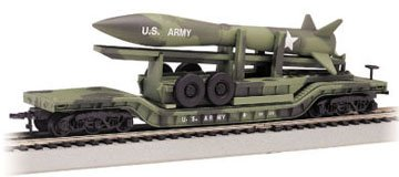 Bachmann Trains Center-depressed Flat Car - Olive Drab with Missle