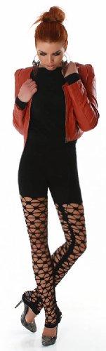 Damen Gogo Leggings lang mit Netzoptik Einheitsgröße (32-38), verschiedene Farben