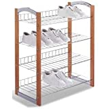 "Four Tier Shoe Rack (Chrome/Wood) (28.5"" H x 24.75"" W x 12"" D) ~ Organize It All"