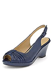 Footglove™ Original Leather Ruched Peep Toe Wedge Shoes