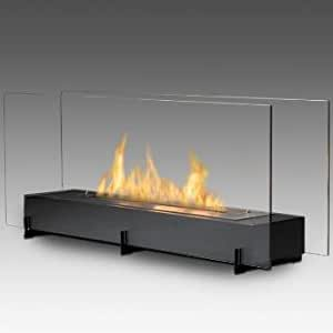 Eco Feu Two Sided Free Standing Fireplace Vision Ii Matte Black Home Kitchen
