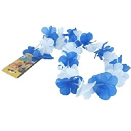 Bulk Buys Blue and White Silken Flowered Lei - Case of 144