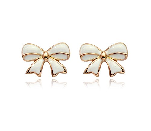 Simple Goldtone Bow Tie Ribbon Stud Earrings Fashion Jewelry For Women (White)