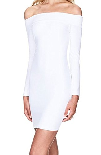 Zestway Women's Sexy Long Sleeve Off Shoulder Bodycon Bandage Party Club Dress White S (White Form Fitting Dress compare prices)