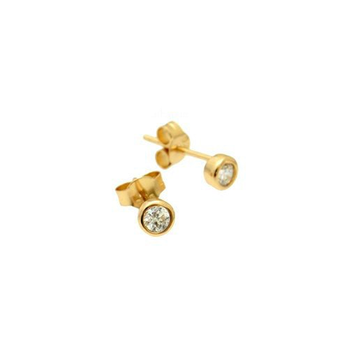 apop nyc 18k Gold Vermeil Mini Bezel CZ Stud Earrings 5mm
