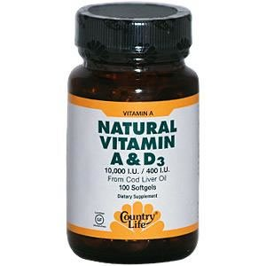 Natural Vitamin A & D by Country Life 100 Softgels