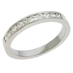 14k White Channel-Set Round 0.42 Ct Diamond Band Ring - Size 7.0 - JewelryWeb