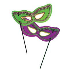 Plastic Mardi Gras Masks w/Dowel (asstd green & purple) Party Accessory  (1 count)