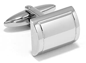 Stainless Steel Half Cylinder Cufflinks by Men's Collections (ck12)