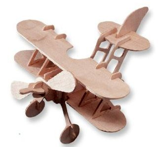 3-D Wooden Puzzle - Small Bi-Plane Model -Affordable Gift for your Little One! Item #DCHI-WPZ-P002