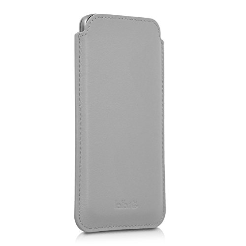 kalibri-Leder-Tasche-Hlle-fr-Samsung-Galaxy-S7-Handy-Case-Cover-Echtleder-Schutzhlle-in-Hellgrau