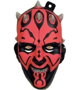 Darth Maul Star Wars Plastic Mask Black Red Halloween Adult Costume Accessory (Darth Maul Face Paint)