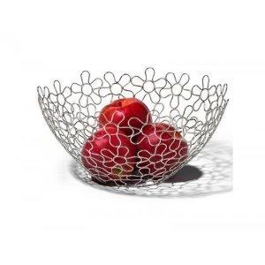Chrome Flower Fruit Bowl Holder Steel Wire Basket