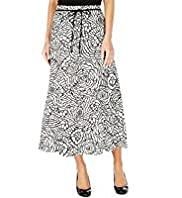 Linen Blend Linear Floral Long Skirts