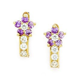 14ct Yellow Gold February Birthstone Purple CZ Flower Leverback Earrings - Measures 13x7mm