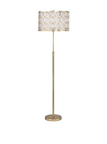 Home Philosophy Metal Pattern Shaded 1-Light Floor Lamp, Gold