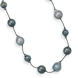 10mm Silver Pearl Black Crystal Ball Endless Necklace Individually Knotted 16-inch Length