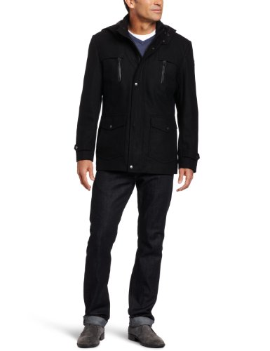 Hawke & Co Men's Military Jacket  Removable Hood