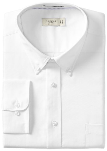 Haggar Men's Regular Fit Pinpoint Oxford Solid Long Sleeve