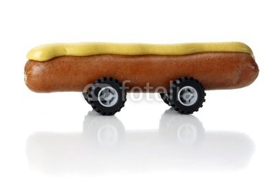 "Wallmonkeys Peel and Stick Wall Decals - Hot Dog on Wheels - 48""W x 32""H Removable Graphic"