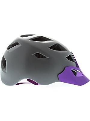 Bern Satin Charcoal Grey Purple 2015 Prescott Zipmold-Visor Womens MTB Helmet from Bern