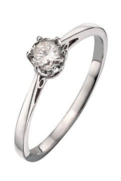 Romantic 925 Sterling Silver Women Solitaire Engagement Diamond Ring Brilliant Cut 0.12 Carat HI-I3