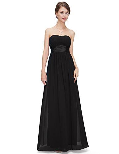 Ever Pretty Womens Strapless Floor Length Chiffon Evening Dress 16 US Black