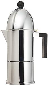 A di Alessi La Cupola Espresso Coffee Maker, 6 Cups, Black Trim, (A9095/6 B)