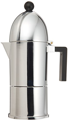 La Cupola Espresso Maker by Aldo Rossi Size: 6 cup, Handle Color: Black, Finish: Aluminum