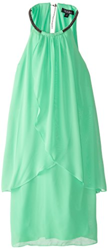 B00UTYX40K S.L. Fashions Women's Solid Tiered Chiffon Dress, Neon Green, 14