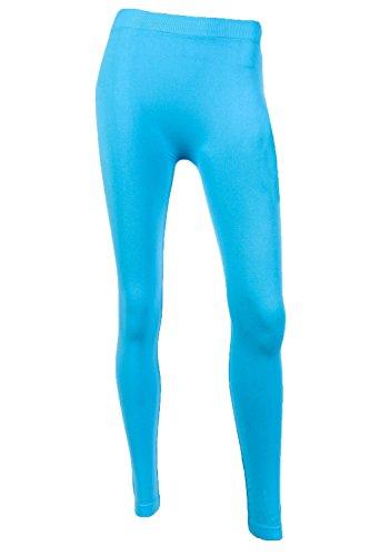 Sofra Women's Full Length Color Leggings-Aqua Blue