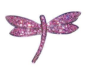Light Pink Dragonfly Swarovksi Crystals Pin Brooch Silver Insect Jewelry Libe...
