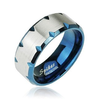 316L Stainless Steel Ring With Blue Ion Plated