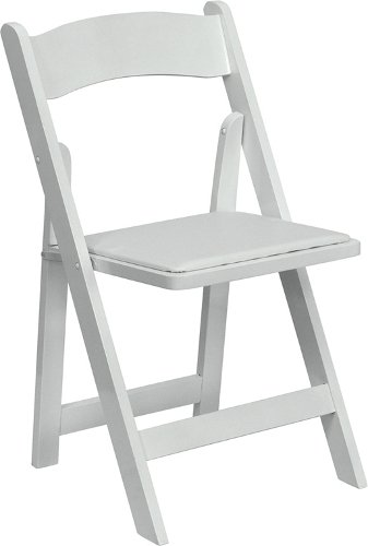 HERCULES Series Natural Wood Folding Chair with Vinyl Padded Seat White/White