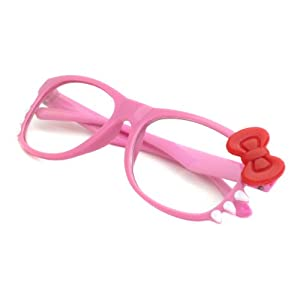 HELLO Kitty Style Kids Baby Toddler Clear Lens Eye Glasses (Age 1-5) PINK FRAME/RED BOW