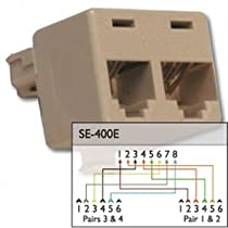 Cat5 splitter into two phone line