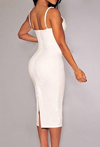 ZKESS Women's Sleeveless Plunging V Neck Cocktail Bodycon Dress S Size White